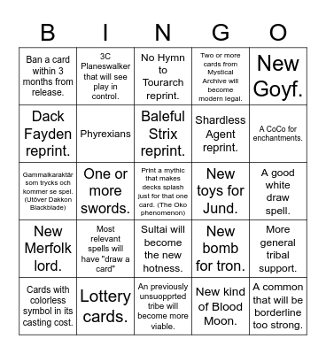 MH2 prediction bingo Card