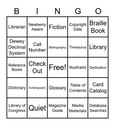 Library Terms Bingo Card