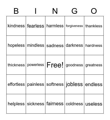 5.25 Spelling List Bingo Card