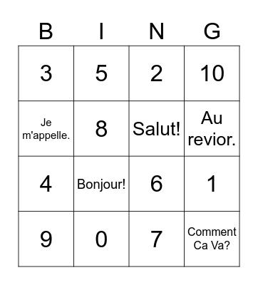 Nombres 0 - 10 Bingo Card