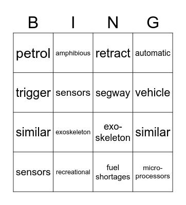Word Review Bingo Card