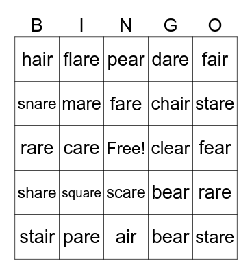 air, ear, are  Bingo Card