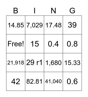 Math Review Bingo Card
