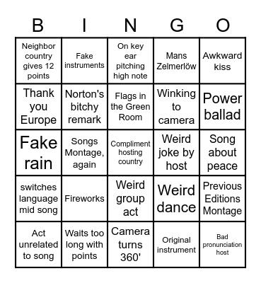 Songfestival 2021 Bingo Card