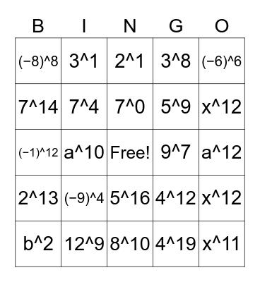 Exponent Bingo! Bingo Card