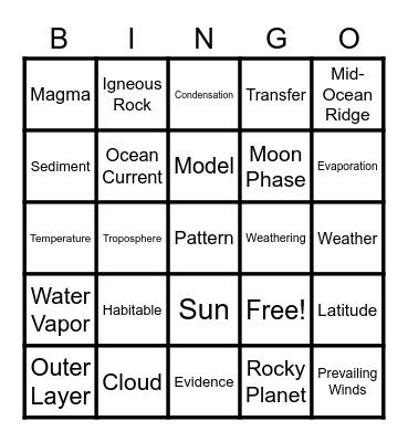 End of the Year Science Bingo Card