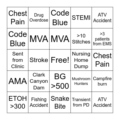 SUMMER Bingo Night Shift Bingo Card