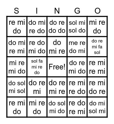 Solfege Bingo Letters Bingo Card
