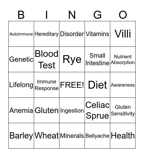 Celiac Awareness Bingo Card