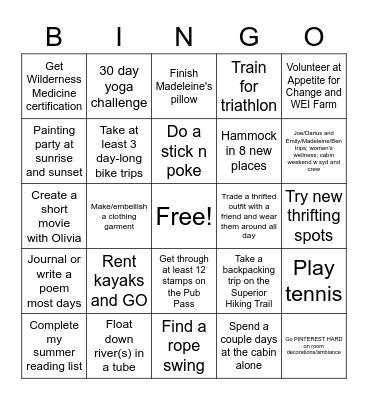 2021 summer of las chicas calientes Bingo Card