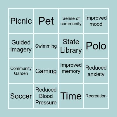 Lesuire Awarness Bingo Card
