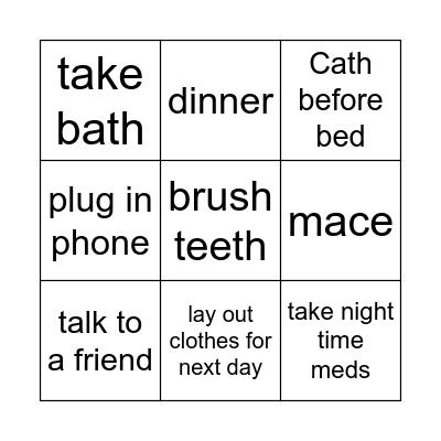 Evening Routine Bingo Card