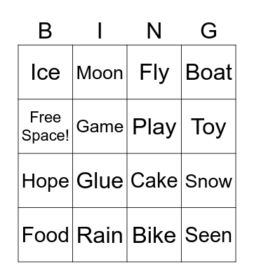 Long Vowel Sounds Bingo Card