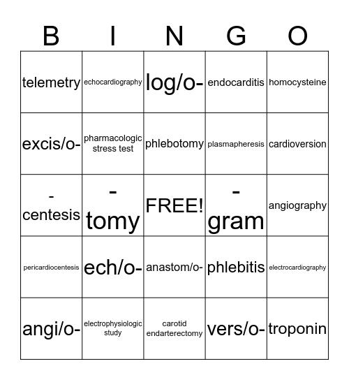 Medical Terminology Bingo! Bingo Card