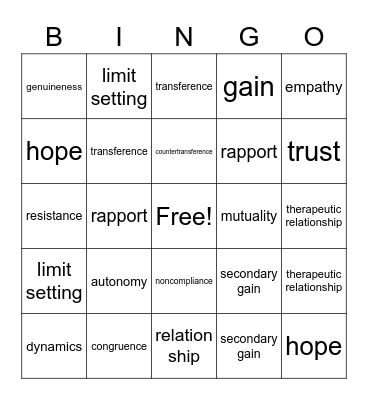 chapter 11 Bingo Card