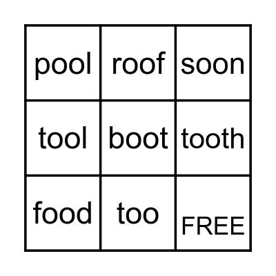 Long oo sounds Bingo Card