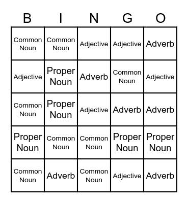 Proper Nouns, Common Nouns, Adjectives and Adverbs Bingo Card