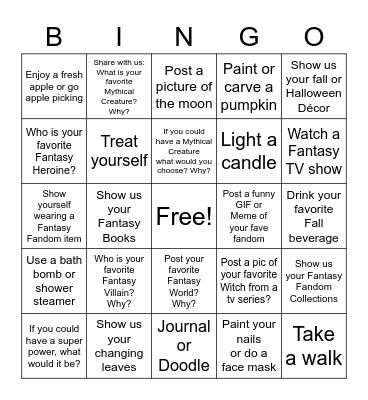 Fantasy Fandom Exchange - Week 1 Bingo Card
