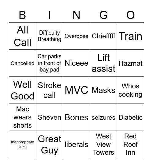 Fire Bingo Card
