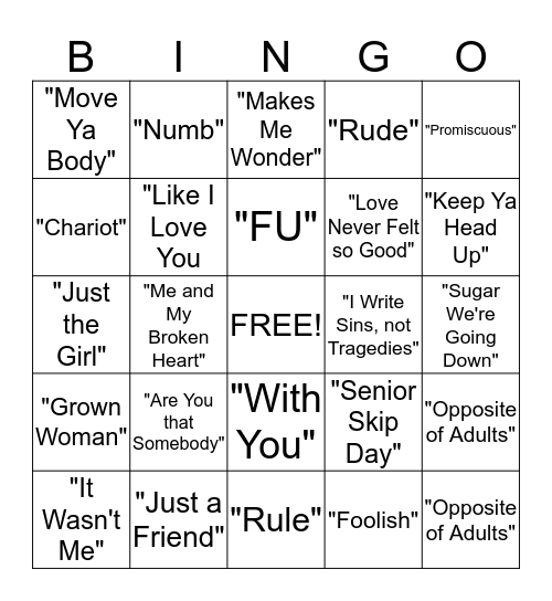 Music Bingo  Bingo Card