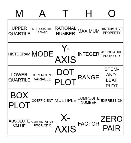 MATH-O Bingo Card