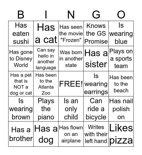 Brownie Day 2015Bingo: Find a Friend who... Bingo Card