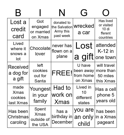 Name Scavenger Hunt Bingo Card