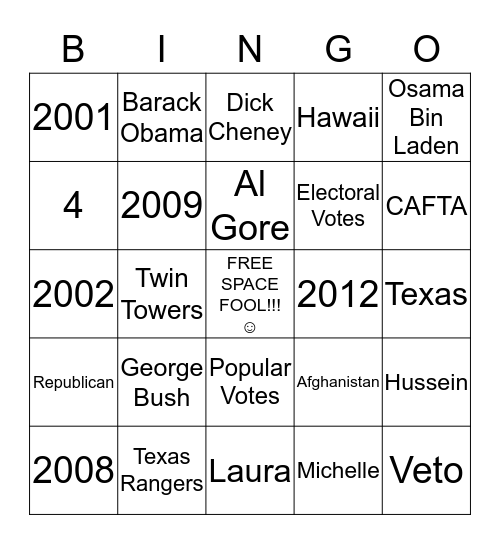 Electoral Bingo Card