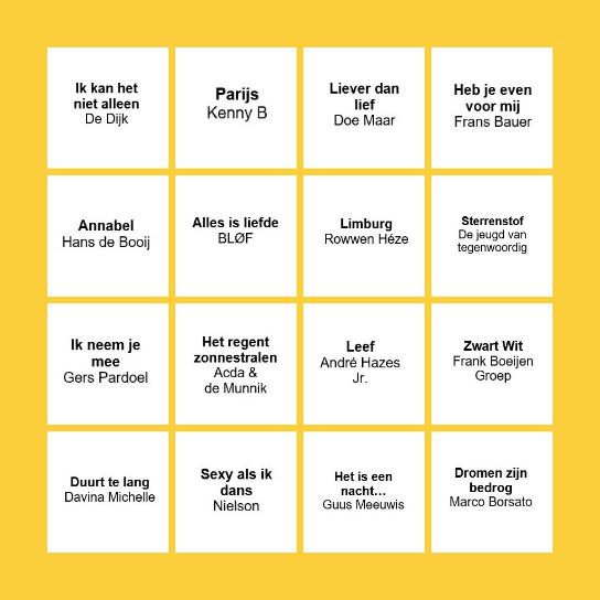 STAAN BINGO THE HOLLAND EDITION Bingo Card