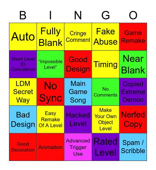 Geometry Dash Recent Tab Bingo Card