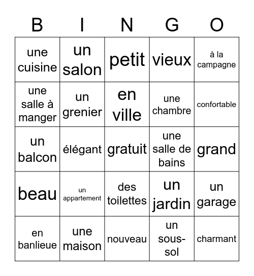 La Maison Bingo Card