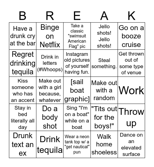 TSM Spring Break Bingo Card