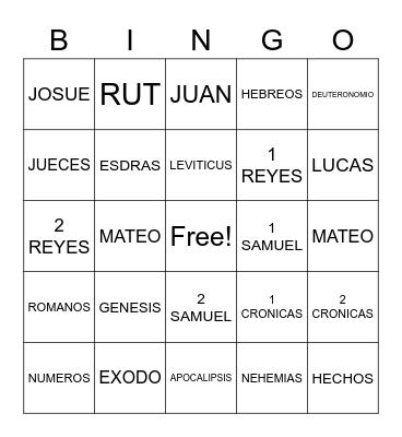 LIBROS DE LA BIBILIA Bingo Card