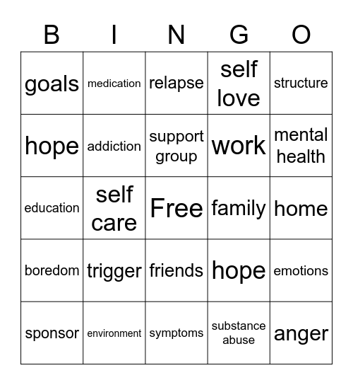 Addiction Bingo Card