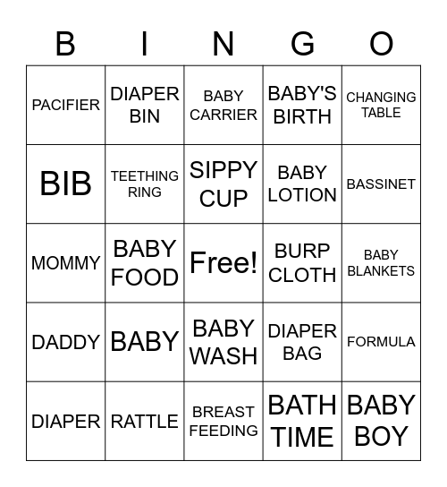 Baby Alexander Bingo Card