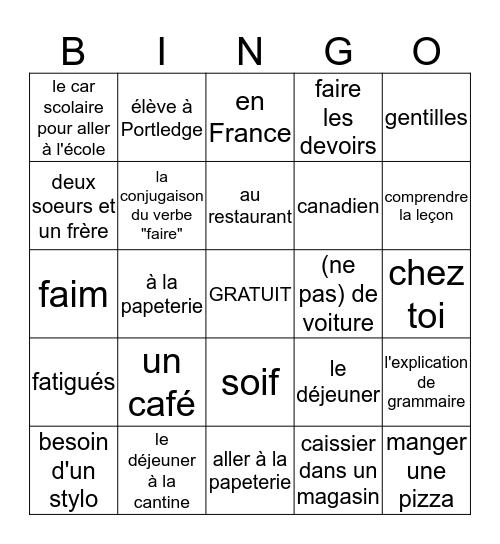 Pour Faire Des Phrases Avec Les Verbes Irreguliers Bingo Card