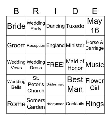 Jenna's Wedding Shower Bingo Card