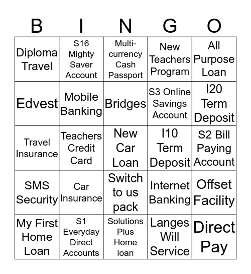 Products and Services Bingo Card