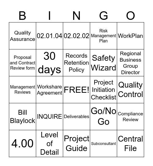 WA Quality Bingo Card