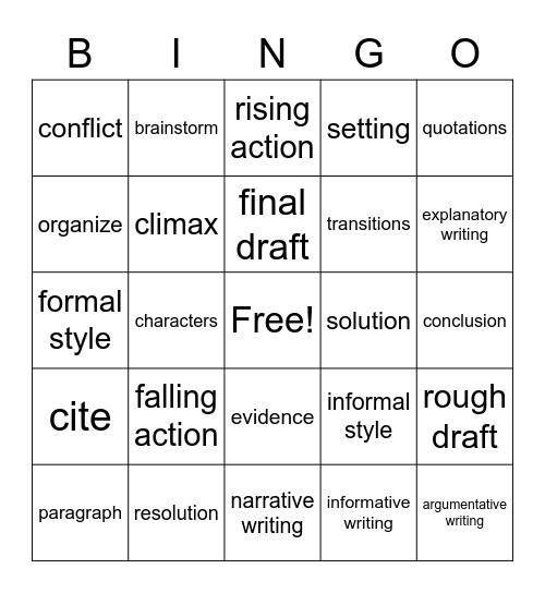 ELA Vocabulary Bingo Card