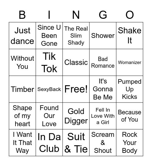 Music Video Bingo Card