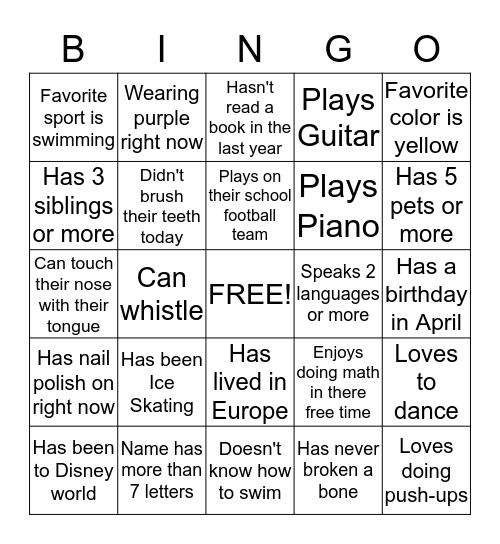 Person Bingo Card