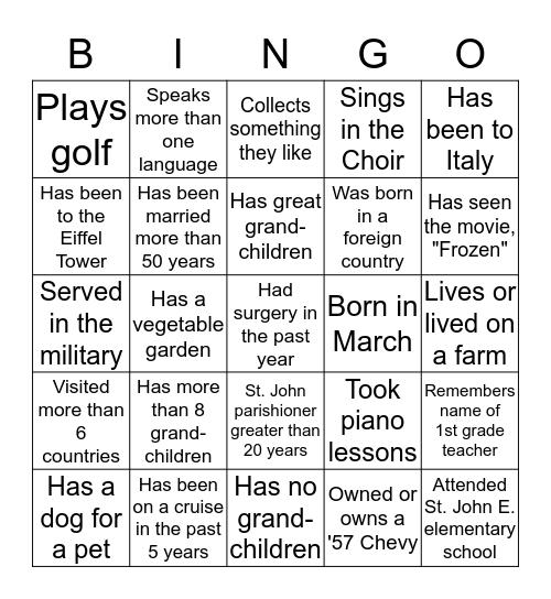 SAINT JOHN THE EVANGELIST Bingo Card