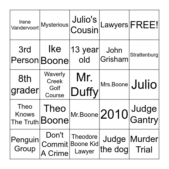 Book Bingo Card
