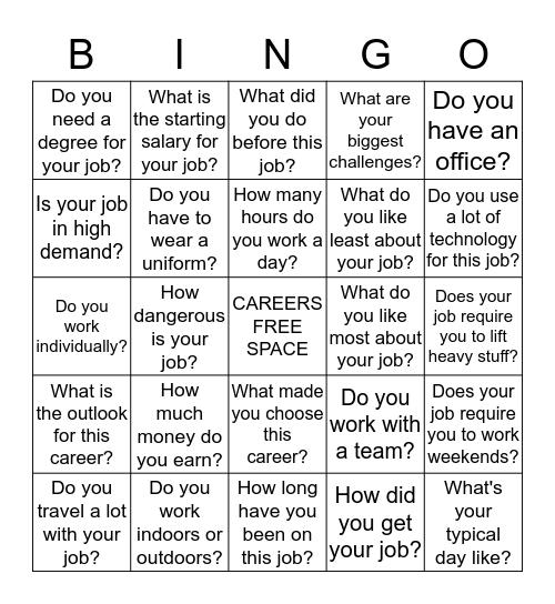 CAREER DAY BINGO!!! Bingo Card