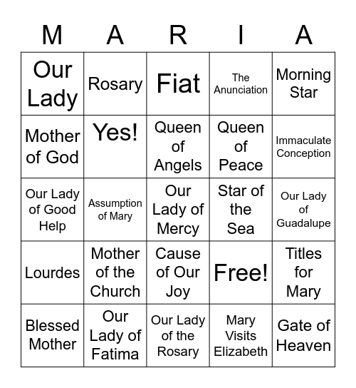 The Blessed Virgin Mary Bingo Card