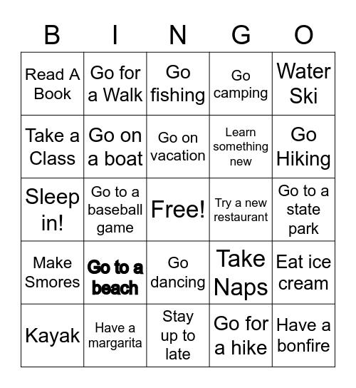 This Summer I Will ... Bingo Card