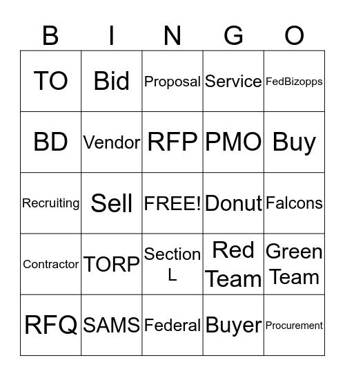 RFP Bingo Card