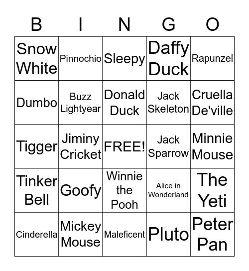 Disney Characters Bingo Card