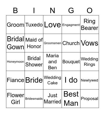 Bridal Bingo  Bingo Card